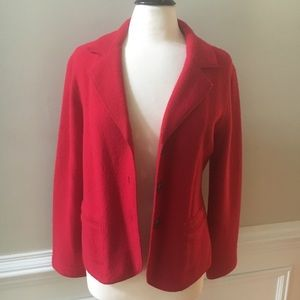 CHICO'S Size 1 Red 100% Wool Coat Blazer Jacket